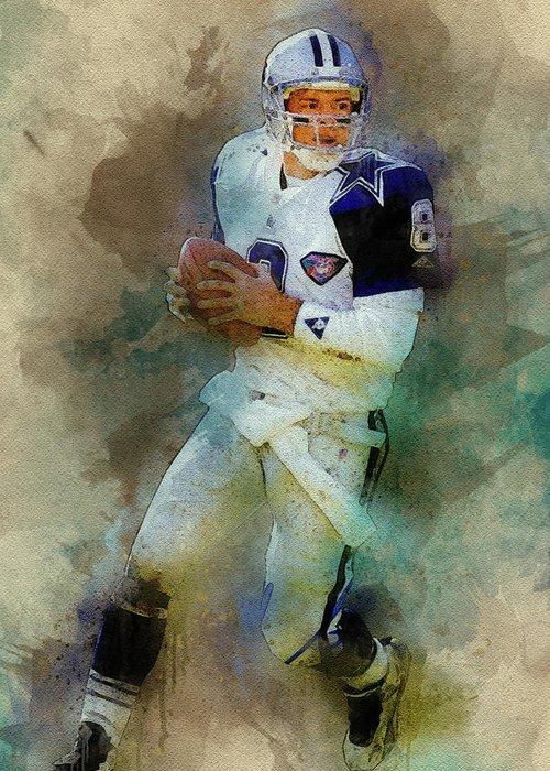 Troy Aikman Greeting Card featuring the digital art Dallas Cowboys.troy Kenneth Aikman by Nadezhda Zhuravleva