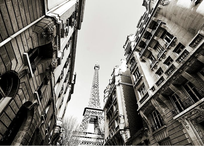 Built Structure Greeting Card featuring the photograph Eiffel Tower Between Buildings In by Flory