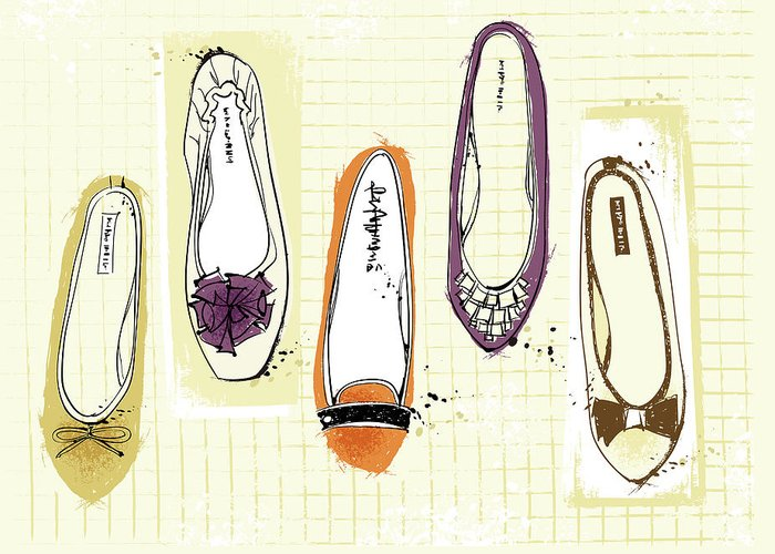 Purple Greeting Card featuring the digital art Feminine Shoes by Eastnine Inc.