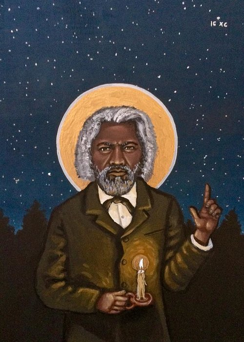 Greeting Card featuring the painting Frederick Douglass by Kelly Latimore