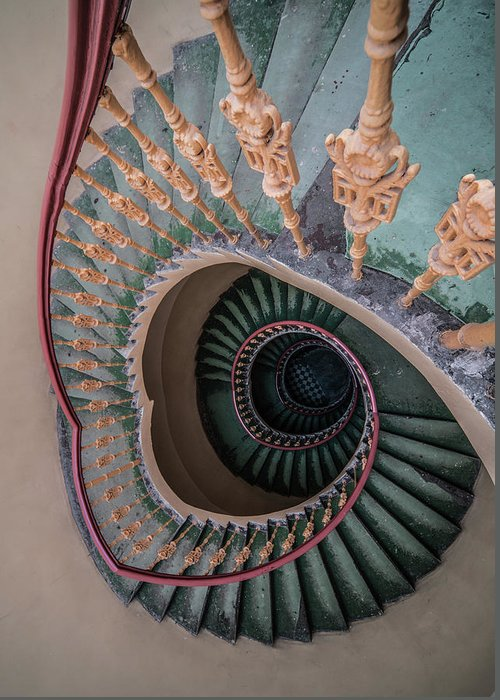 Stairway Greeting Card featuring the photograph Green Spiral Staircase by Jaroslaw Blaminsky