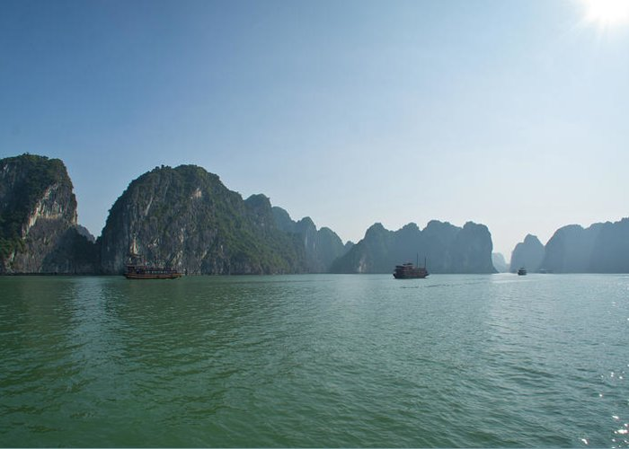 Scenics Greeting Card featuring the photograph Ha Long Bay by By Thomas Gasienica