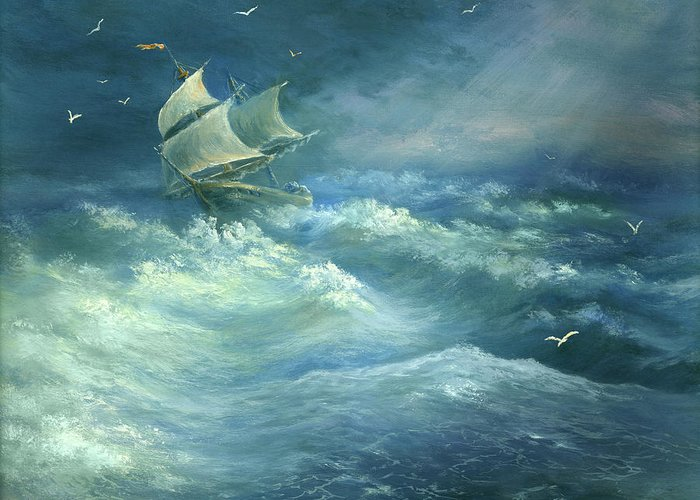 Curve Greeting Card featuring the digital art Heavy Gale by Pobytov