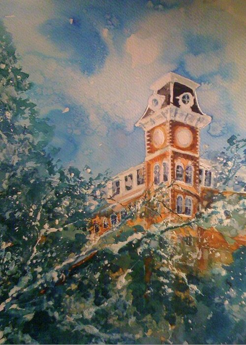 University Of Arkansas Greeting Card featuring the painting Ice On Old Main by Robin Miller-Bookhout