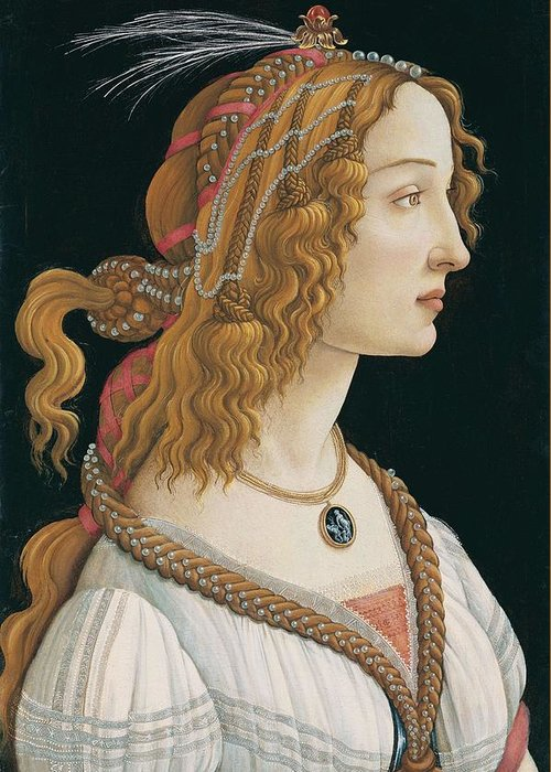 Sandro Botticelli Greeting Card featuring the painting Portrait Of A Young Woman, Portrait Of Simonetta Vespucci As Nymph by Sandro Botticelli