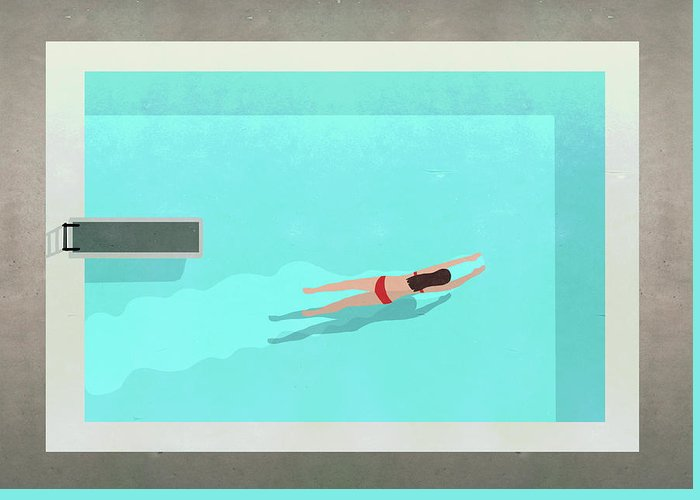 Recreational Pursuit Greeting Card featuring the digital art Illustration Of Woman Swimming In Pool by Malte Mueller
