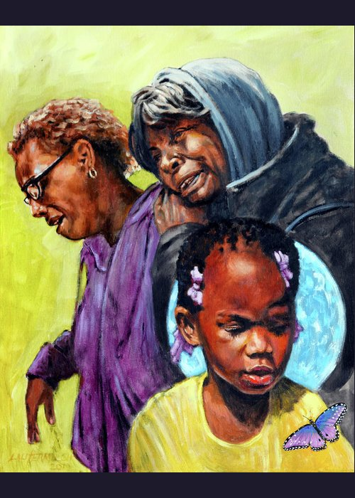 Child Greeting Card featuring the painting Kennedi Powell by John Lautermilch