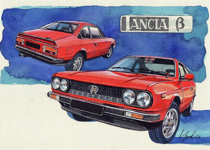 Lancia Greeting Card featuring the painting Lancia Beta 1300 by Yoshiharu Miyakawa
