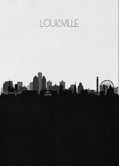 Louisville Greeting Card featuring the digital art Louisville Cityscape Art by Inspirowl Design