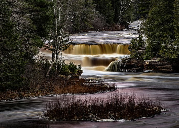 Michigan Greeting Card featuring the photograph Lower Tahquamenon Falls by William Christiansen