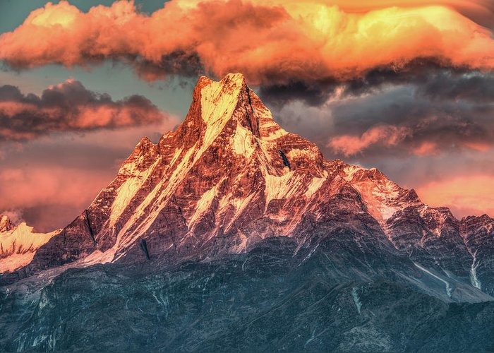 Tranquility Greeting Card featuring the photograph Machapuchare Mountain, Fish Tail In by Emad Aljumah