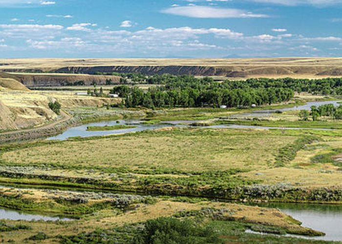 Panorama Greeting Card featuring the photograph Marias River Valley by Todd Klassy