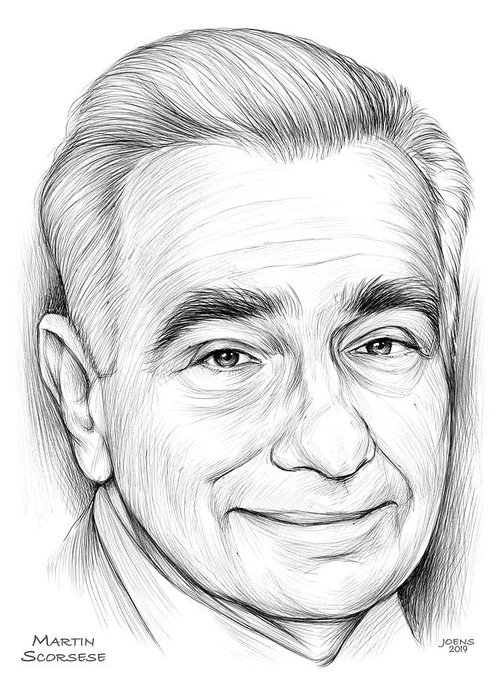Bic Pen Greeting Card featuring the drawing Martin Scorsese by Greg Joens