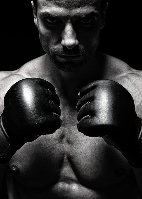 Toughness Greeting Card featuring the photograph Mma Fighter by Vuk8691