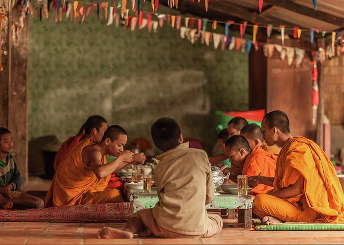 Young Men Greeting Card featuring the photograph Monks At Breakfast, Wat Monastery by Cultura Rm Exclusive/gary Latham