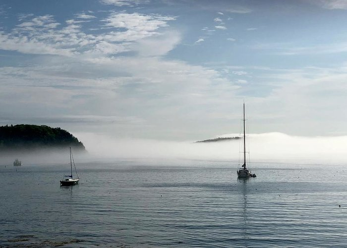 Seascape Greeting Card featuring the photograph Morning Mist On Frenchman's Bay by Dick Goodman