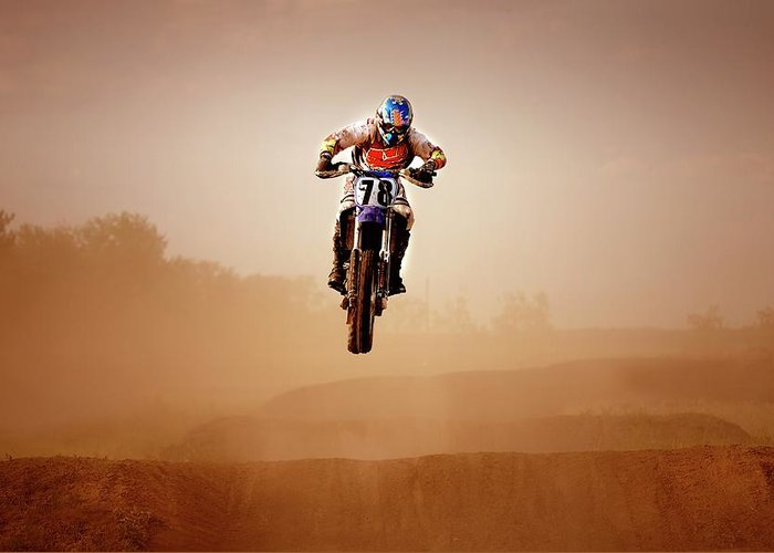 Crash Helmet Greeting Card featuring the photograph Motocross Rider by Design Pics