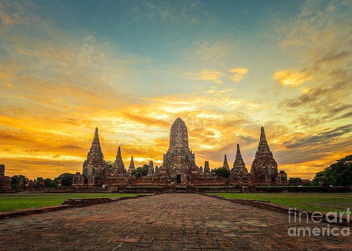 Sukhothai Greeting Card featuring the photograph Old Temple Wat Chaiwatthanaram by Santiphotoss