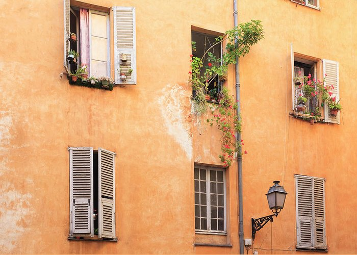 Orange Color Greeting Card featuring the photograph Old Town Of Nice, French Riviera, France by Aprott