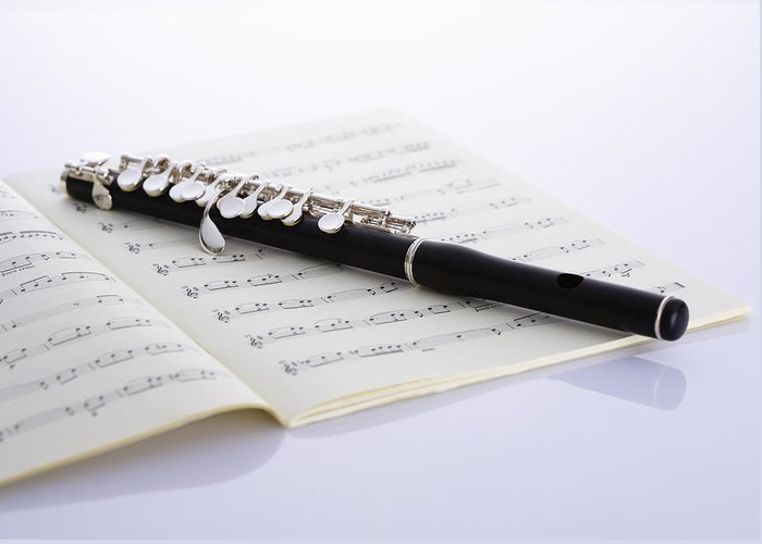 Sheet Music Greeting Card featuring the photograph Piccolo On A Score by Imagenavi