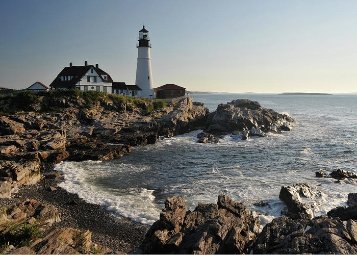 Water's Edge Greeting Card featuring the photograph Portland Head Light by Aimintang
