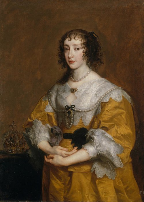 17th Century Art Greeting Card featuring the painting Queen Henrietta Maria by Anthony van Dyck