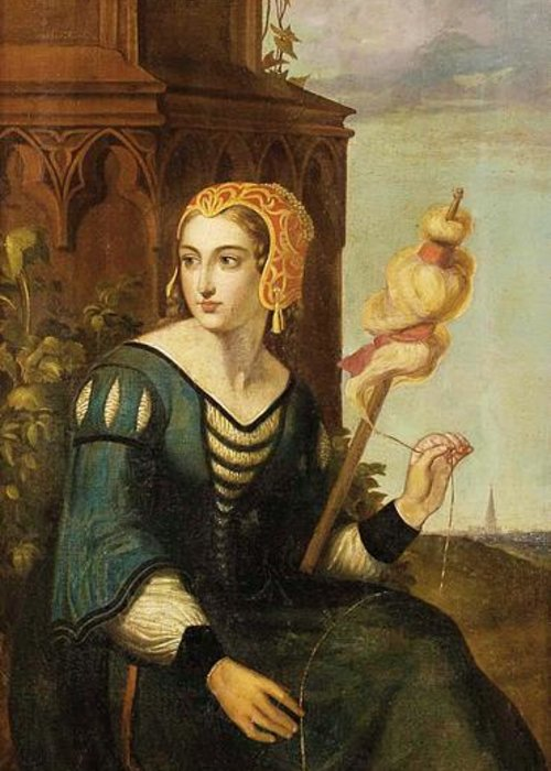 German Romantics In The 19th Century. Seated Noble Lady With Distaff Before Gothic Tower And Landscape View Greeting Card featuring the painting Seated Noble Lady With Distaff Before Gothic Tower And Landscape View by MotionAge Designs