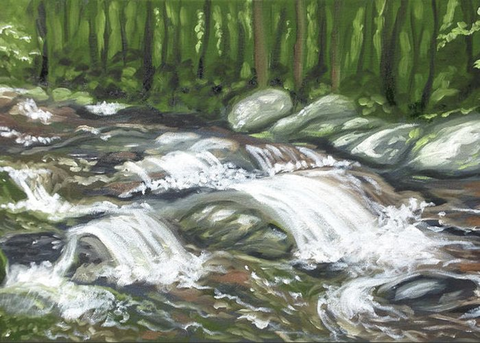 Oil Painting Greeting Card featuring the painting Asheville Mountain Stream by Billie Mann