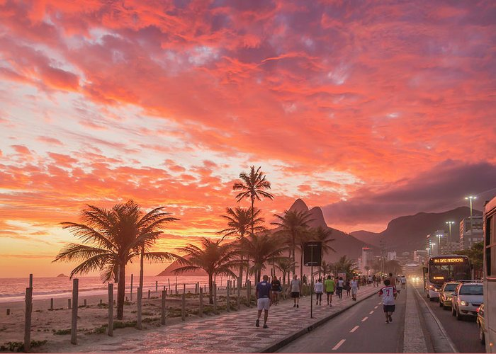 Majestic Greeting Card featuring the photograph Sunset Over Ipanema Beach by Buena Vista Images