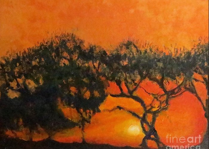 Trees Greeting Card featuring the painting Tango Tree by Caroline Cunningham