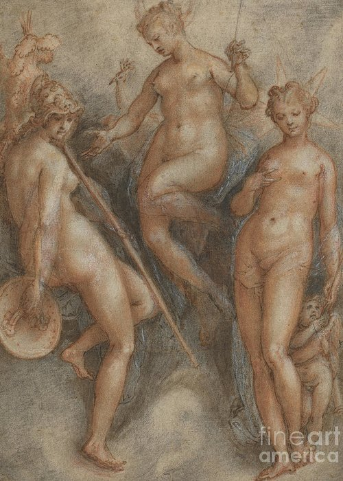 Mythology Greeting Card featuring the drawing Three Goddesses Minerva, Juno And Venus by Jan van der Straet