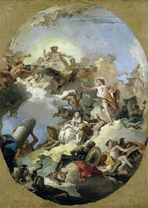 B1019 Greeting Card featuring the painting The Apotheosis of the Spanish Monarchy, c1765 by Giovanni Battista Tiepolo