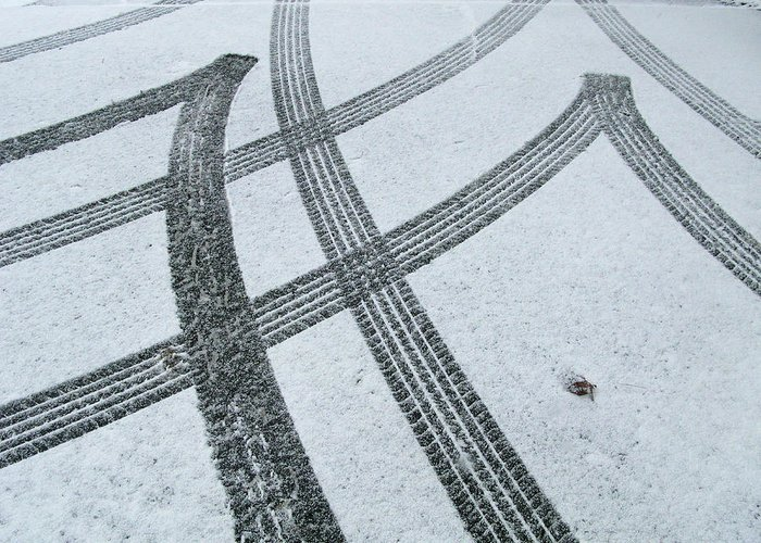 Black Color Greeting Card featuring the photograph Tire Tracks In Snow, Winter by Jerry Whaley