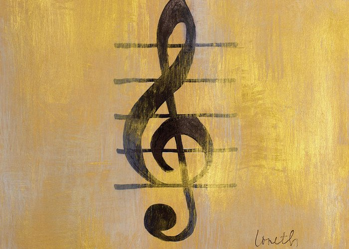 Treble Greeting Card featuring the painting Treble Clef by Lanie Loreth