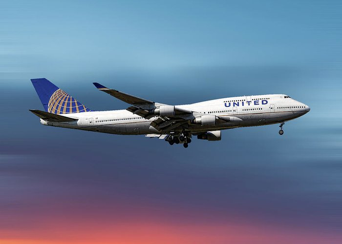 United Airlines Greeting Card featuring the mixed media United Airlines Boeing 747-422 by Smart Aviation