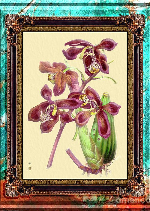 Marble Greeting Card featuring the mixed media Vintage Orchid Antique Design Marble Caribbean-blue by Baptiste Posters