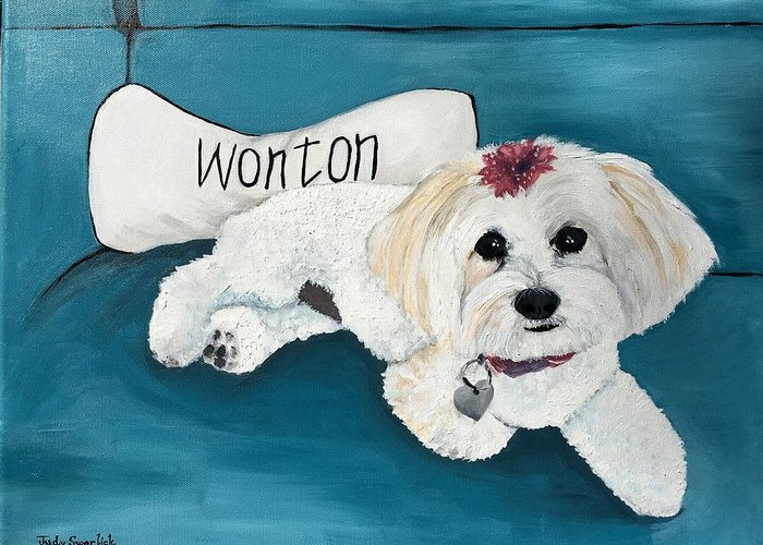 Maltese Greeting Card featuring the painting Wonton by Judy Swerlick