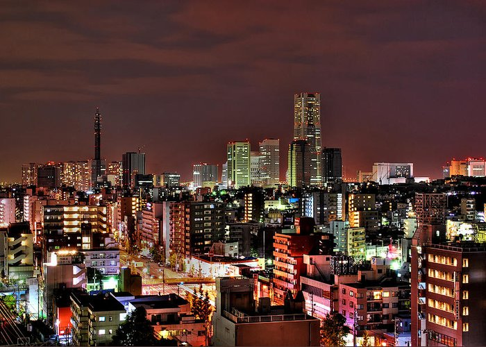 Tranquility Greeting Card featuring the photograph Yokohama Nightscape by Copyright Artem Vorobiev