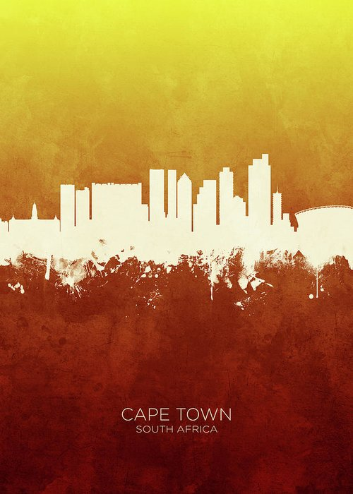Cape Town Greeting Card featuring the digital art Cape Town South Africa Skyline 11 by Michael Tompsett