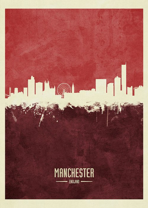 Manchester Skyline Greeting Cards