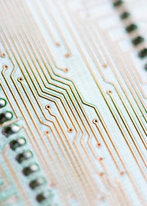 Electrical Component Greeting Card featuring the photograph Close-up Of A Circuit Board by Nicholas Rigg