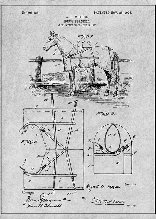 Art & Collectibles Greeting Card featuring the drawing 1905 Horse Blanket Patent Print Gray by Greg Edwards