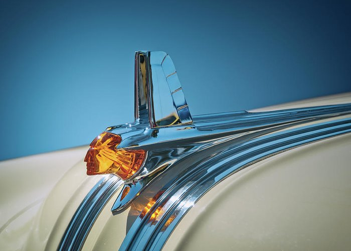 Vehicle Greeting Card featuring the photograph 1953 Pontiac Hood Ornament by Scott Norris