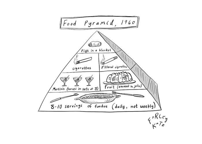 Food Pyramid Greeting Card featuring the drawing 1960s Food Pyramid by Farley Katz