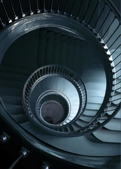Architecture Greeting Card featuring the photograph Blue Spiral Staircase by Jaroslaw Blaminsky