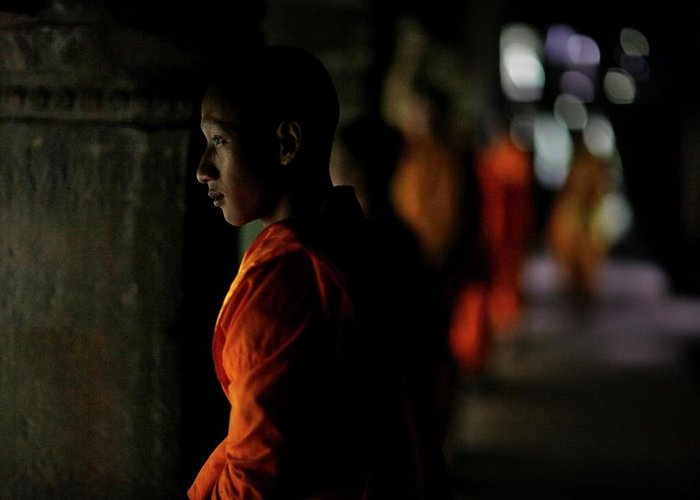 People Greeting Card featuring the photograph Buddhist Monks At Angkor Wat Temple by Timothy Allen
