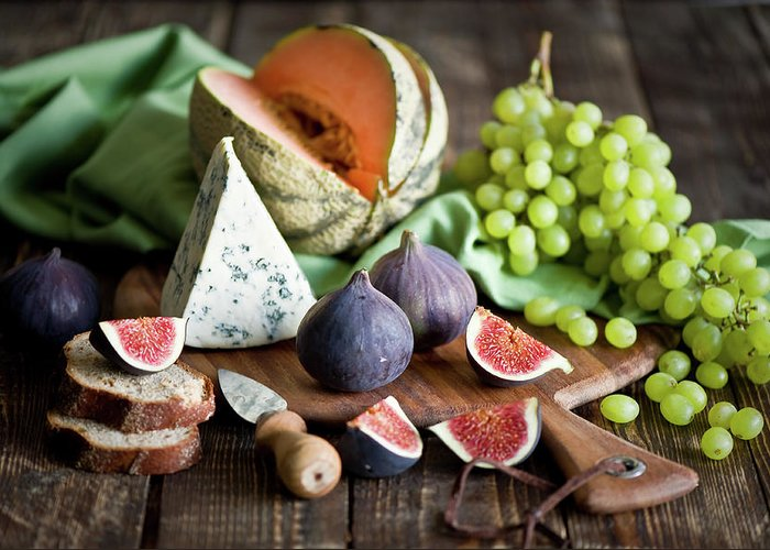 Large Group Of Objects Greeting Card featuring the photograph Cheese Board by Verdina Anna
