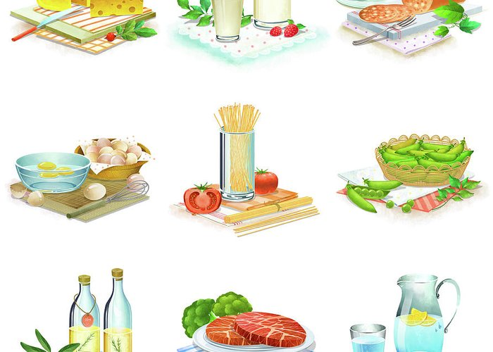 Milk Greeting Card featuring the digital art Close-up Of Food Stuff by Eastnine Inc.