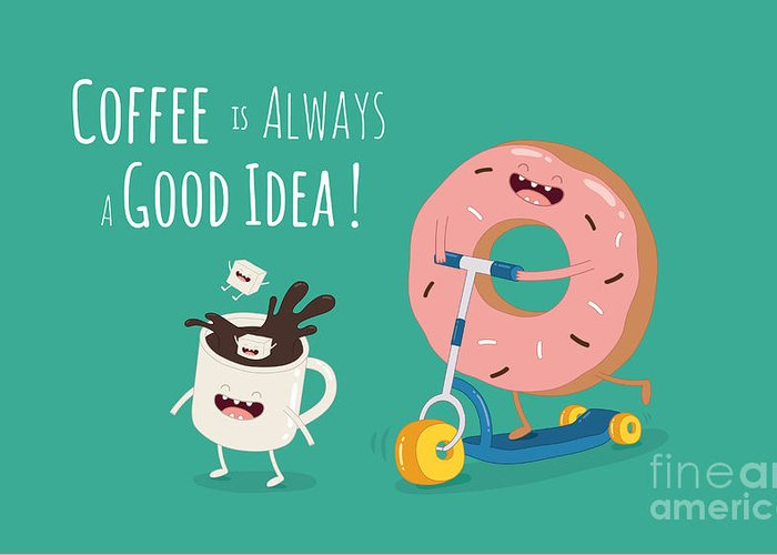 Away Greeting Card featuring the digital art Funny Coffee With Donut On The Kick by Serbinka