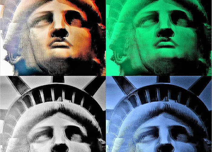 Statue Of Liberty Greeting Card featuring the photograph Lady Liberty In Quad Colors by Rob Hans